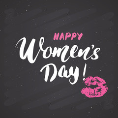 Happy Women's Day Hand letterings set. Holiday grunge textured retro design greeting cards vector illustration on chalkboard background