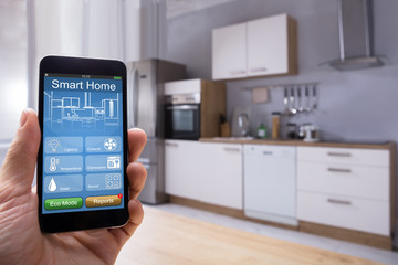 Person Using Smart Home System On Mobilephone