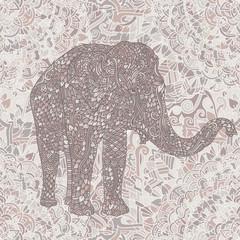 Elephant in asian style. Mandala seamless nude pattern. Vector illustration.