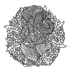 Lord Ganesha on indian mandala background. Asian pattern with leaves and flowers. Yoga style print. Black and white vector illustration.