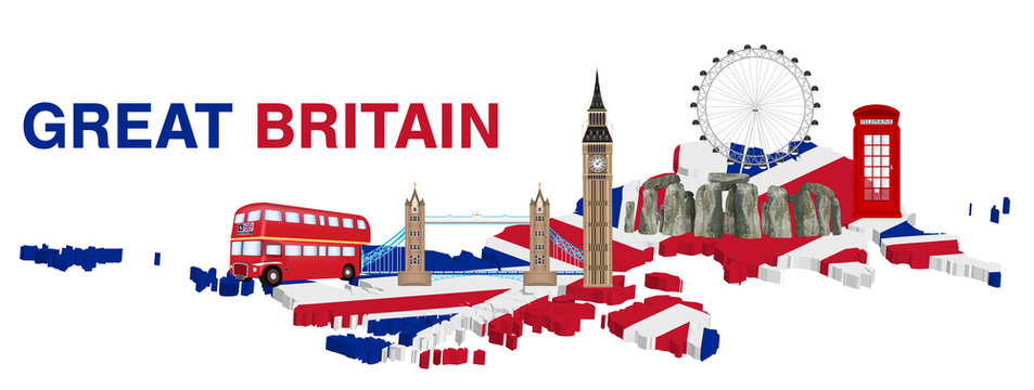 great britain with landmark and icon of england