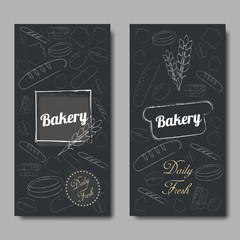 Bakery background vector flat. Bread and pastries banner set