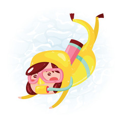 Clip art of one cute girl scuba diver in yellow wet suit which is ideal for creating your wallpapers, backgrounds, stickers, fabric patterns, clothing prints, labels, crafts & projects