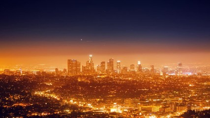 Fototapete - City of Los Angeles cityscape panorama with view downtown horizon. 4K Timelapse.