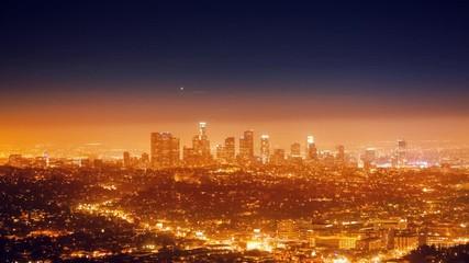Klistermärke - City of Los Angeles cityscape panorama with view downtown horizon. 4K Timelapse.