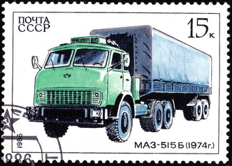 USSR - CIRCA 1986: A stamp printed in in the USSR shows Truck Maz-515B, circa 1986