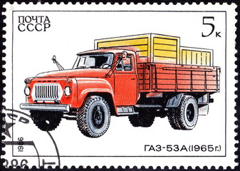 USSR - CIRCA 1986: A stamp printed in in the USSR shows Truck Gaz-53A - 1965, circa 1986