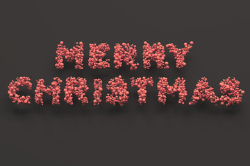 Merry Christmas words from red balls on black background
