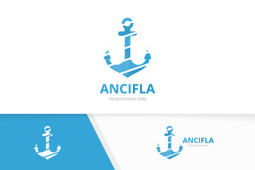 Vector anchor logo combination. Marine and nautical symbol or icon. Unique navy logotype design template.