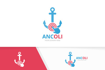 Vector anchor and click logo combination. Marine and cursor symbol or icon. Unique navy and digital logotype design template.