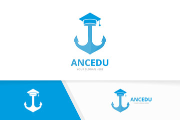 Vector graduate hat and anchor logo combination. Study and marine symbol or icon. Unique navy and college logotype design template.