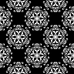 Black and white floral ornament. Seamless pattern