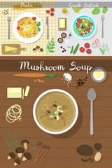 Soup plate dishes on table top view vector illustration healthy eating breakfast soup lunch meal concept with fresh salad bowls on kitchen wooden worktop