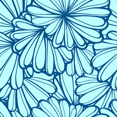 Vector stylized flower elements seamless pattern
