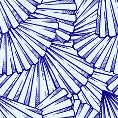 Vector stylized fans seamless pattern