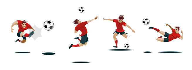 Soccer Player Kicking Ball. Set Collection of different poses.