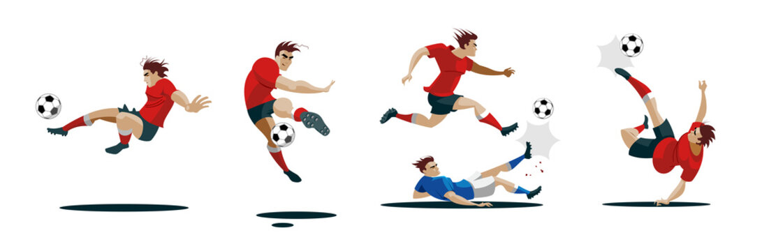 Soccer Player Kicking Ball. Set Collection of different poses