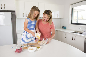 young mother and sweet little daughter baking together happy at home kitchen in family lifestyle concept