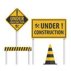 Construction Sign Set, Simple Flat Vector.