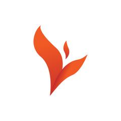 Flame Winged Leaf Shape Symbol Design