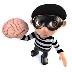 3d Funny cartoon burglar thief holding a human brain