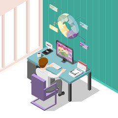 Online Trading Isometric Background