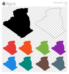 Algeria high detailed map. Country silhouette icon. Isolated Algeria black map outline. Vector illustration.