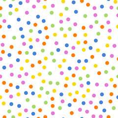 Colorful polka dots seamless pattern on white 2 background. Pretty classic colorful polka dots textile pattern. Seamless scattered confetti fall chaotic decor. Abstract vector illustration.