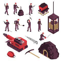 Mining Industry Isometric Icons Set