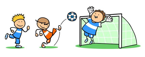 Gruppe Kinder beim Fußball spielen