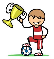 Kind als Gewinner mit Fußball und Pokal