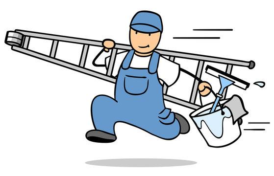 Kinder, die reinigung der fenster helfen. Kinder helfen putzfrauen bei der  reinigung der fenster illustration.