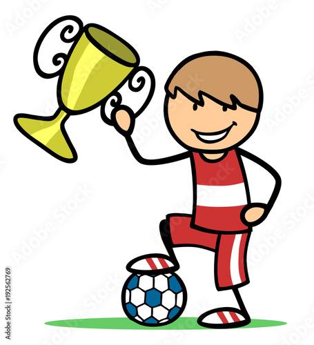Kind Als Gewinner Mit Fussball Und Pokal Photo Libre De
