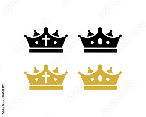 Black And Gold Crown Of King Or Queen Symbol Modern Logo Vector