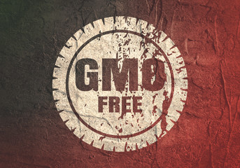 Abstract stamp. Graphic design element. Distressed grunge texture. GMO free text