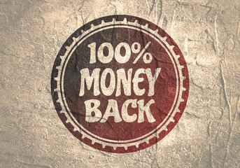 Abstract stamp. Graphic design element. Distressed grunge texture. 100 percent money back text