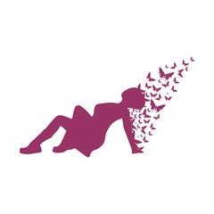 Illustration of a woman lying on the floor and butterflies. Relaxing pose