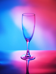 Glass of wine on a bright contrasting background