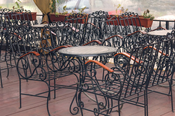 Restaurant iron table and chair blak furniture outdoor terrace seat