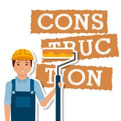 construction worker roller paint tool vector illustration