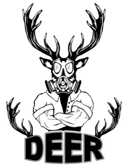 Steep fashionable deer Hipster animal. Vintage style illustration for tattoo, logo, emblem, print on the t-shirt