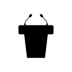 Icono plano atril con microfonos en color negro