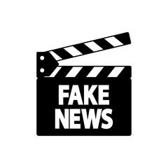 Icono plano claqueta con FAKE NEWS en color negro