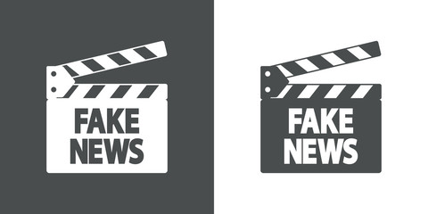 Icono plano claqueta con FAKE NEWS en gris y blanco