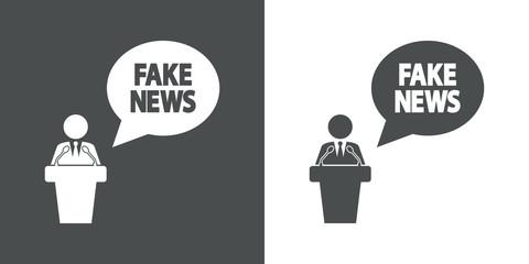 Icono plano mensaje FAKE NEWS con orador en gris y blanco