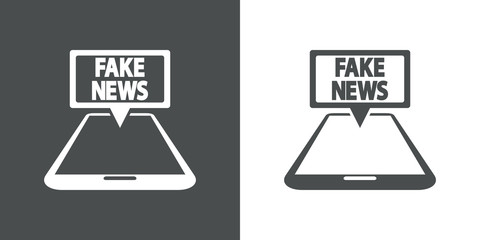 Icono plano FAKE NEWS en movil perspectiva en gris y blanco