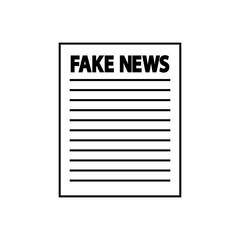Icono plano FAKE NEWS en papel en color negro