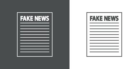 Icono plano FAKE NEWS en papel en gris y blanco