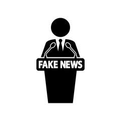 Icono plano orador con FAKE NEWS en color negro