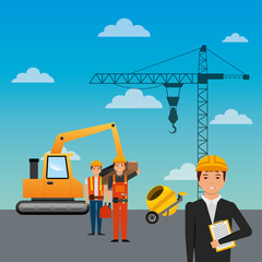 construction workers loading machine mixer concrete crane sky background vector illustration